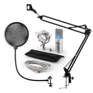 MIC-900S-LED Juego de micrófono V4 USB Micrófono de condensador Protector antipop Brazo para micrófono LED plateado