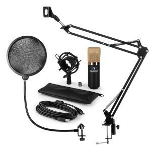 MIC-900BG Juego de micrófono V4 USB Micrófono de condensador Protector antipop Brazo para micrófono dorado