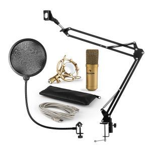 MIC-900G USB set de micrófonos V4 micrófono de condensadorprotección anti popbrazo de micrófono dorado