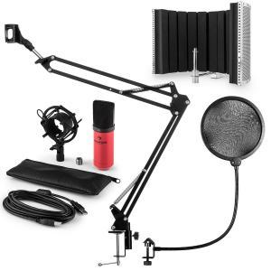 MIC-900RD Juego de micrófono V5 USB Micrófono de condensador Protector antipop Pantalla Brazo para micrófono rojo