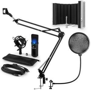 MIC-900B-LED Juego de micrófono V5 USB Micrófono de condensador Protector antipop Pantalla Brazo para micrófono LED negro