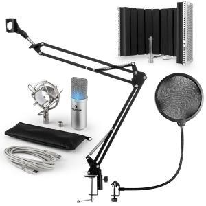 MIC-900S-LED Juego de micrófono V5 USB Micrófono de condensador Protector antipop Pantalla Brazo para micrófono LED plateado