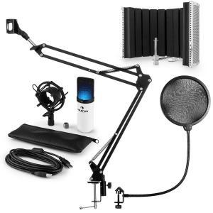 MIC-900WH LED USB set de micrófonos V5 micrófono de condensador protección anti pop brazo de micrófono LED blanco
