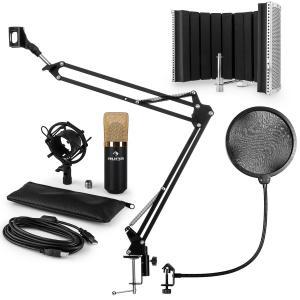 MIC-900BGUSB set de micrófonos V5 micrófono de condensador protección anti pop brazo de micrófono LED dorado