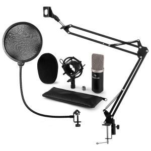 CM003 Juego de micrófono V4 Micrófono de condensador XLR Brazo para micrófono Protector antipop negro