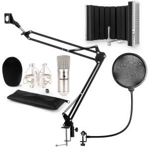 CM001S set de micrófono V5 micrófono condensador brazo de micrófono protección anti pop escudo plateado