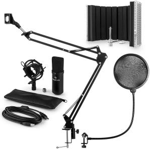 CM001B set de micrófono V5 micrófono condensador brazo de micrófono protección anti pop negro