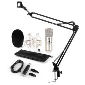 CM001S set de micrófono V3 micrófono condensador adaptador USB brazo de micrófono plata