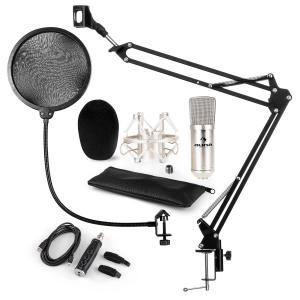 CM001S set de micrófono V4 micrófono condensador adaptador USB brazo de micrófono protección anti pop plata