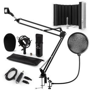 CM001B Set de micrófono V5 Micrófono condensador Adaptador USB Brazo de micrófono Protección anti pop Escudo