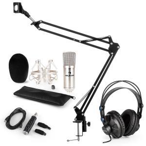 CM001S Juego de micrófono V3 Auriculares Micrófono de condensador Adaptador USB Brazo plateado