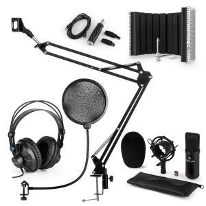 CM001B Set de micrófono V5 Auriculares Condensador Brazo Filtro anti-pop Pantalla Negro