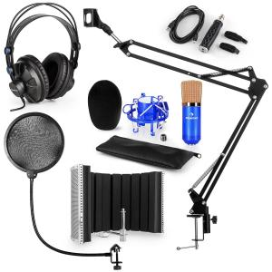 CM001BG set de micrófono V5 micrófono condensador adaptador USB protección anti pop escudo brazo de micrófono azul