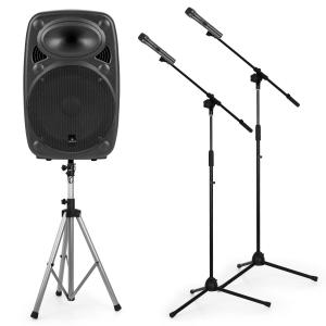 "Streetstar 12 Set de equipo PA portátil de 12"" Soporte para altavoces PA 2 trípodes para micrófono"