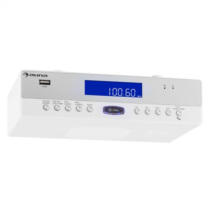 KR-100 WH Radio cocina Bluetooth USB MP3 Manos libres