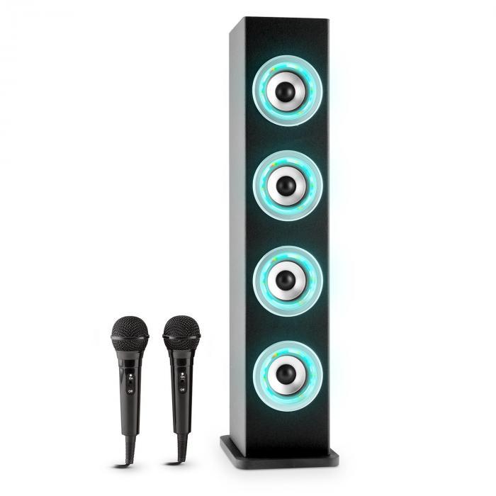 Karaboom LED Altavoz Bluetooth USB AUX Karaoke 2x micrófonos Negro