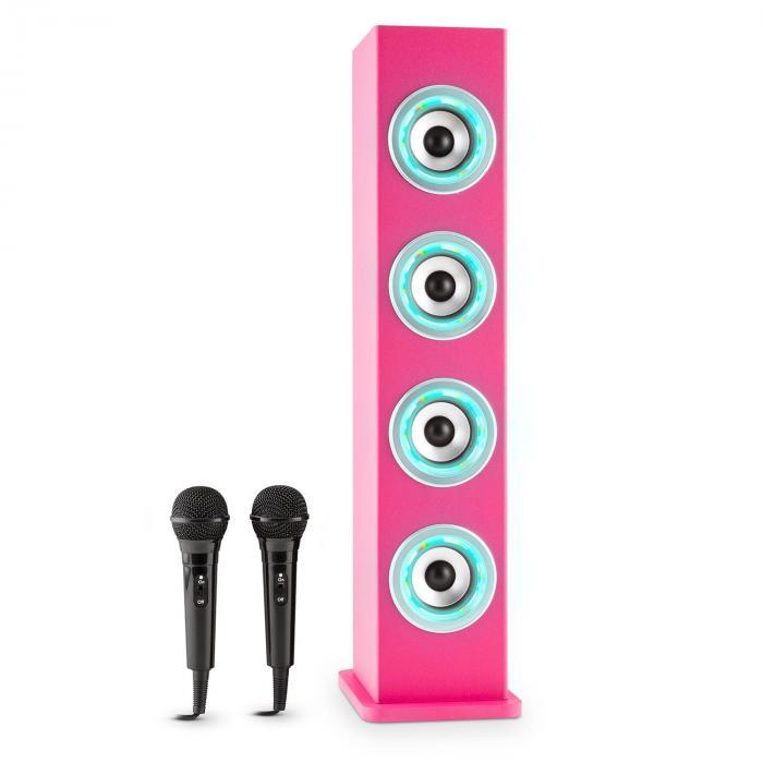 Karaboom PK LED Altavoz Bluetooth USB AUX VHF Karaoke 2x micrófonos Rosa