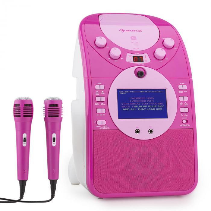 ScreenStar Equipo de karaoke Cámara CD USB SD MP3 incl. 2 x micrófonos rosa