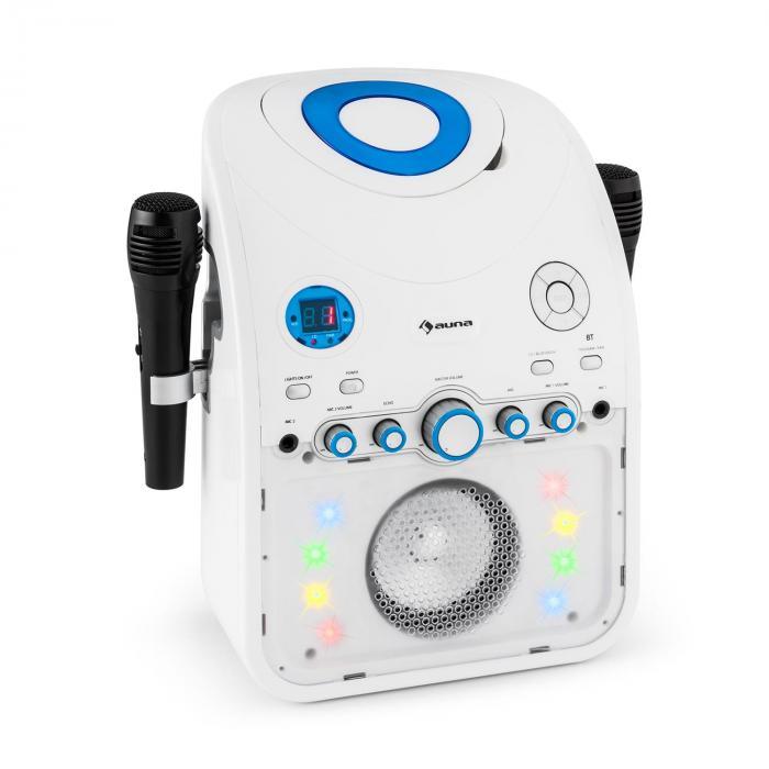 StarMaker Equipo de karaoke reproductor de CD Bluetooth AUX Efectos de luz LED 2 x micrófonos Blanco