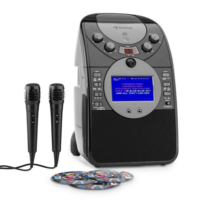 ScreenStar Equipo de karaoke Cámara CD USB SD MP3 incl. 2 x micrófonos 3 x CD+G