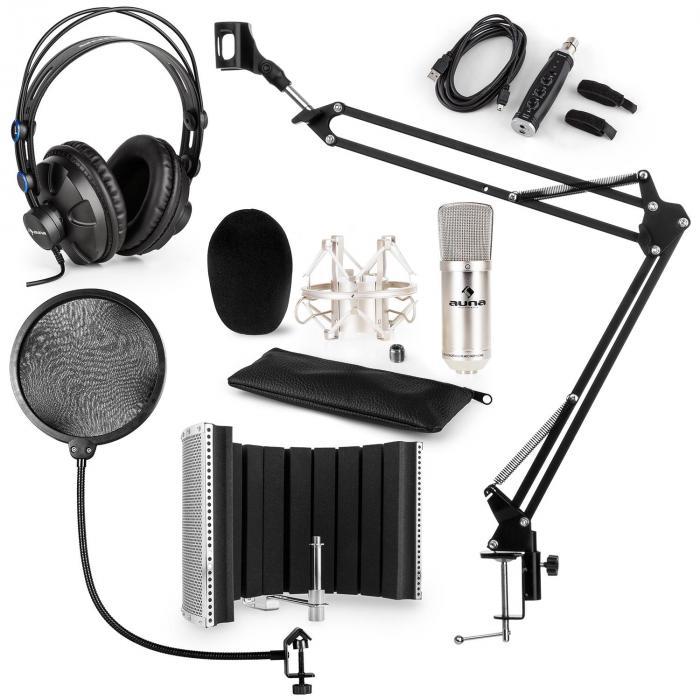 CM001S set de micrófono V5 micrófono condensador brazo de micrófono protección anti POP adaptador USB plata